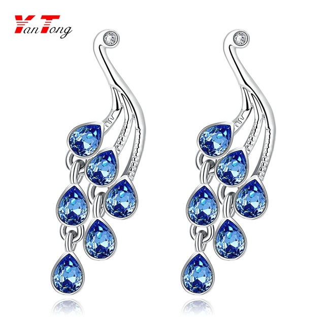 Fancy Delicated Blue Crystal White Gold Plated 5.6g Plant Drop Earrings Young Women LAKE043