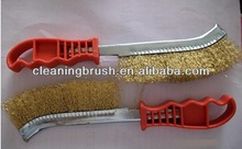 steel wire polishing knife brush with plastic handle