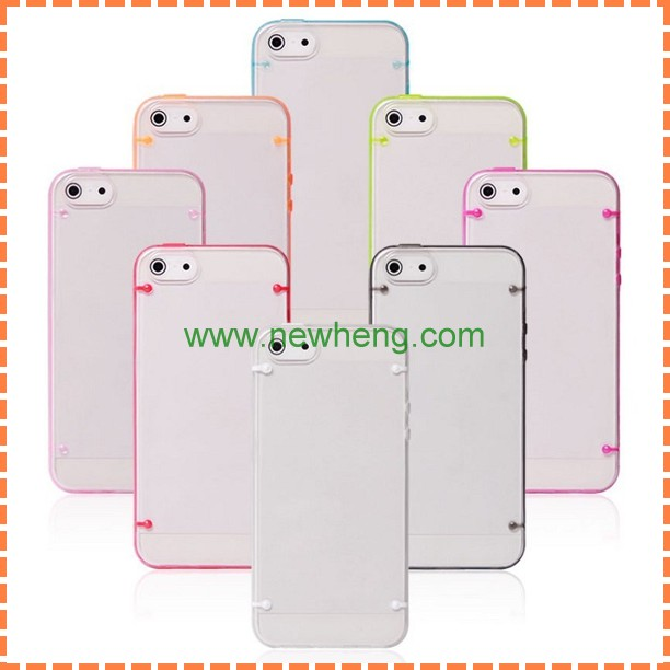 candy color ultra-thin Transparent hard PC Case For Iphone5C