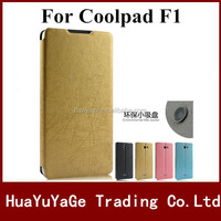 Hot selling phone cases yusi series PU rain stand leather flip cover pudini window holster case for Coolpad F1