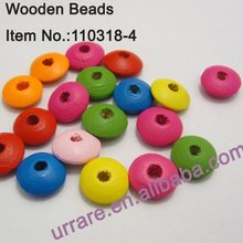 12mm Colorful Flying Saucer Wooden Jewelry Beads