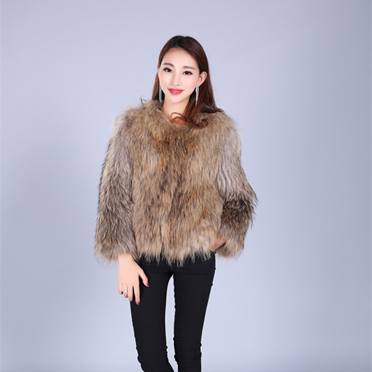 hot selling racoon dog long fur coat for women with top quality on alibaba