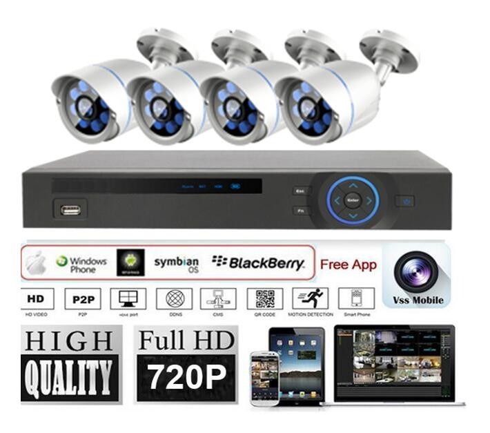 4CH CCTV Camera kit System 1.0MP4ch DVR kits HD camera kits