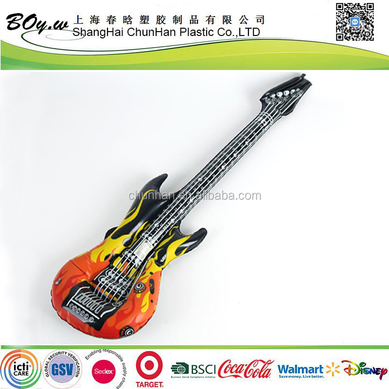 CN manufacturer OEM air musical instruments rock electric amp kids inflatable pvc guitar toys