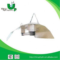 hydroponic garden double ended reflector/fluorescent light fixture grid