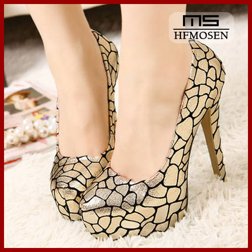 S4161 shoes for women 2013 latest pump shoes round toe high heels serpentine pattern sexy nighclub pumps