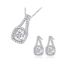 Rhodium Plated 925 Silver Wedding Jewelry Sets Use Shining Cubic Zirconia CZ Necklace and Earring Set