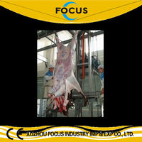 Muslim halal slaughtering cattle cow beef pig sheep goat hydraulic type skin removed machine