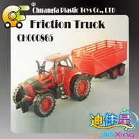 2015 cheap plastic friction farm tractor toys mini trailer truck for boys