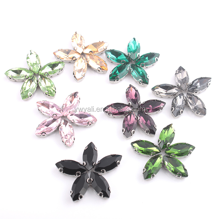 YALI Pink Navette Glass Crystal Sew On Stone Rhinestone Claw Setting Crystals For Dress Decoration