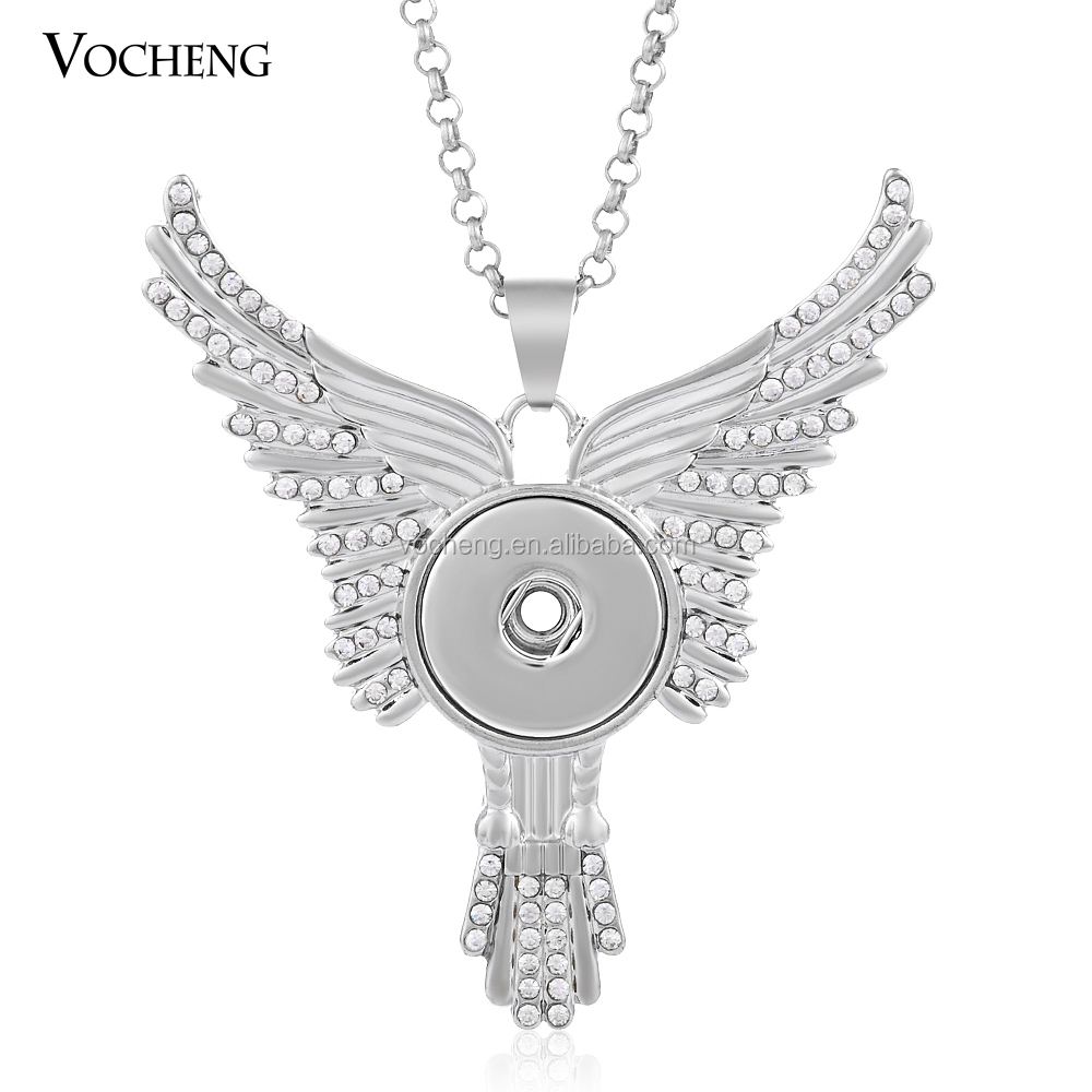 (10pcs/lot)vocheng gingersnap 18mm angel wing Snap Jewelry necklace (NN-326*10) Vocheng Jewelry Free Shipping