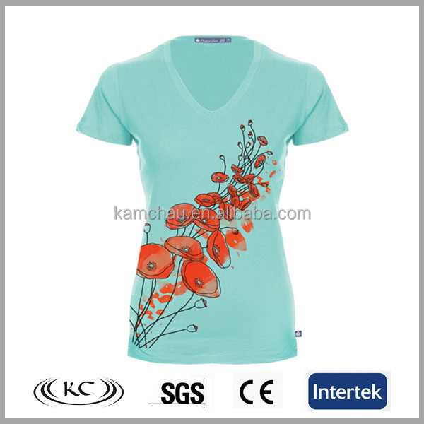 fashion europe low price cotton silk new v neck t shirt