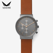 Brown genuine leather three eyes custom brand watch chronograph mens watch