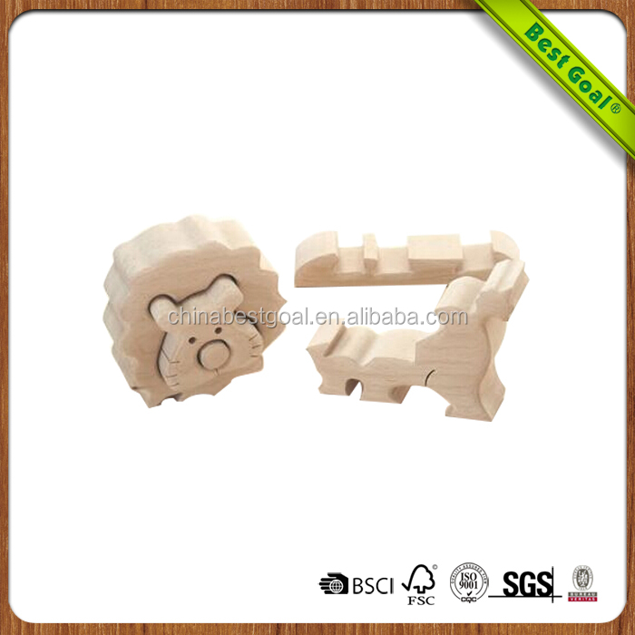 Child toy educational stacking Wooden blocks from lion shape toys