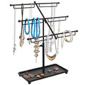 Wholesale Factory Price Black Metal Wire 3 Tier Organizer Rack Tabletop Bracelet & Necklace Jewelry Display Stand