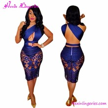 New Club Sexy Summer Lace Dress Backless Pencil Skirt