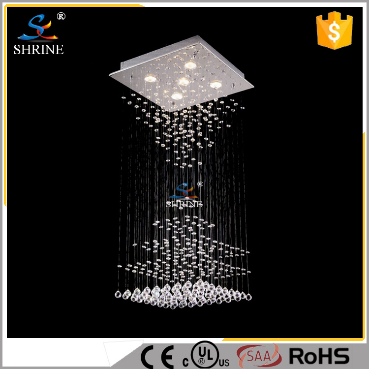 Cool Light LED Bulb Silver Color Glass Chromed Iron Material Ceiling Crystal Light Model:SC7008-5L