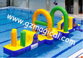 water game inflatable floating slip slide jumping bouncer