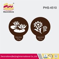 2pcs set new food grade plastic fondant stencil for wedding festivals cake cupcake cookie coffee decorations