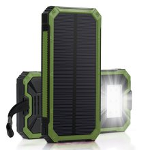 PowerGreen High Capacity LED Light Solar Charger Waterproof Mobile Phone Dual USB Solar Battery Charger for Emergence