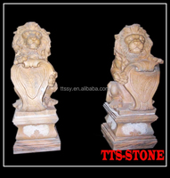 marble hand carved lion animal stone