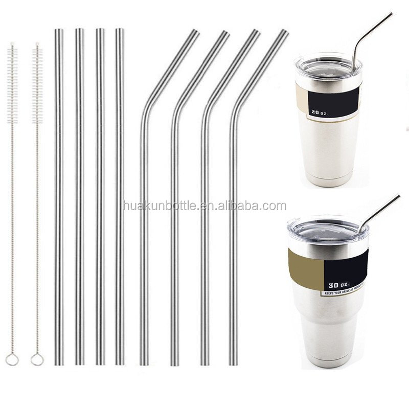 stainless steel 18/8 straight bent drinking straw with brush reusable straws for 20oz 30oz tumbler