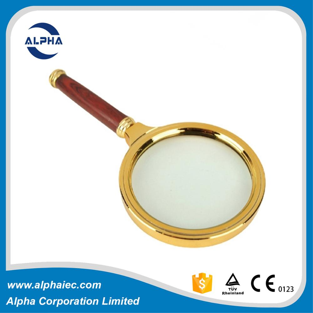 imtitation wood surface 10x magnifying glass handlens prices