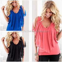 Walson online shopping blouse swing v neck women wear ladies tops images woman summer clothes fashion collar blouses