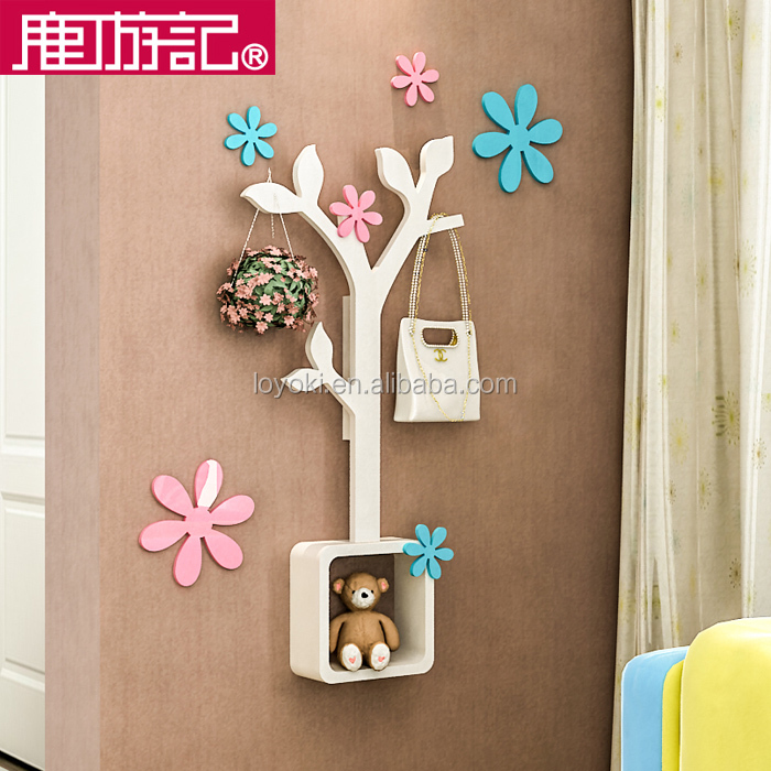 eco-friendly tree shape DIY coat clothes rack wooden coat hanger wall mounted coat rack