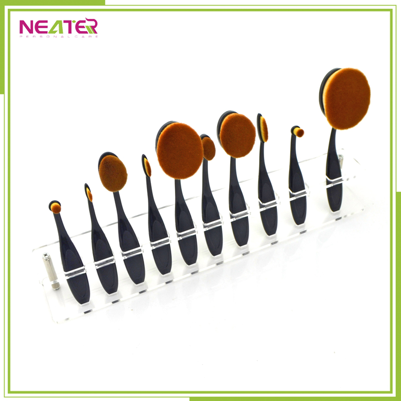 10 Pcs Oval Puff Brush, Private Label Toothbrush Oval Makeup Brush Set