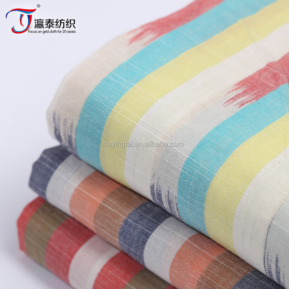 Direct manufacturers 2016 new cotton yarn dyed fabric dyeing weaving slub taper cotton fabric
