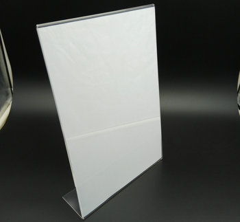 Slant L shape acrylic holder for A4 size paper