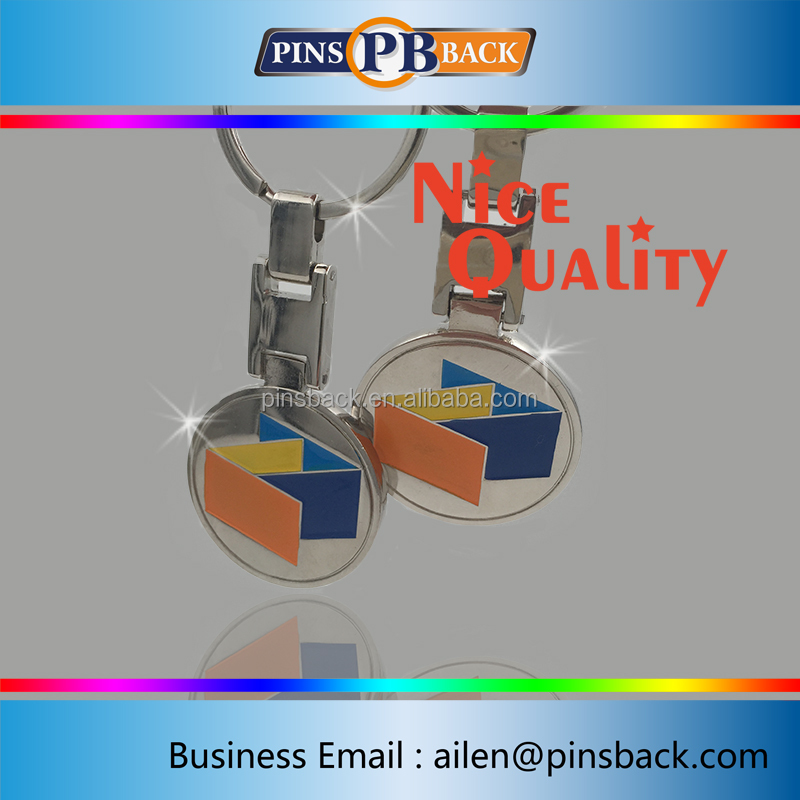 Custom soft enamel two side plating nickle shopping trolley coin lock/metal trolly coin keyring/trolley coin