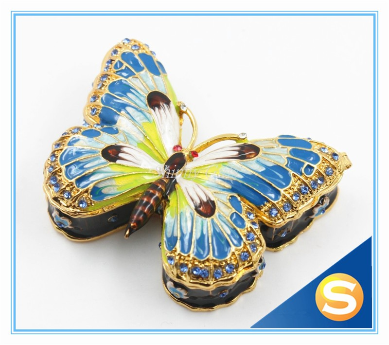 Shinny Gifts China Manufacturer Butterfly Trinket Box Enamel Pewter Design Small Gift Box