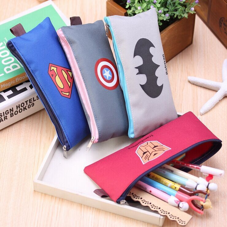 (Cheap) Mini Batman Cartoon Canvas Cheaper Zippers Student Pencil Bag/ The American Capital Pencil Case/Pencil Pouch