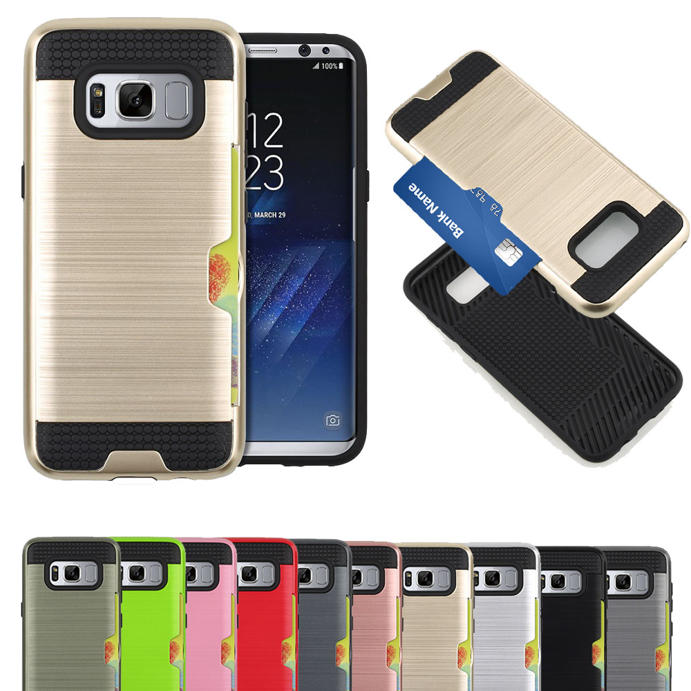 Hard premium card case for samsung galaxy s8 cellpphone, plastic tpu back cover convenient case for s8 case