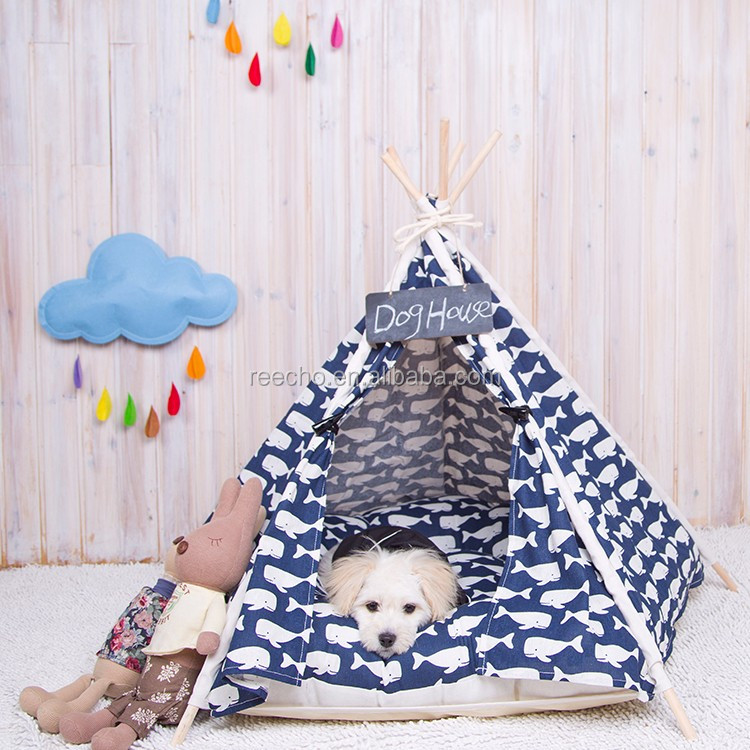 Canvas Fabric Nature Printing Wooden Fabric Dog House For Cheap Wholesale