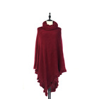 Solid Color Cashmere Like Piece Dye High Neck Ruffled Poncho For Ladies