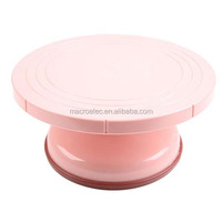 Pink color food grade plastic cake decorating stand, rotating pastry turntable
