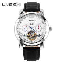 100m water resist genuine leather strap automatic wrist watch