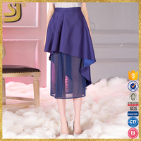 2016 hot selling American style Navy purple Plain Asymmetric Casual Midi Skirt