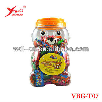 Chinese Fruity Flavor Bubble Gum With Tattoo In Koala Shaped Jar