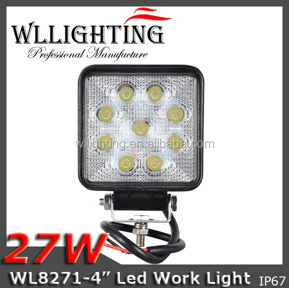 "4"" 27w Square Hight brightness waterproof motorcycles atv utv trucks tractors led work light"