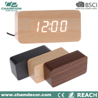 Wood weather station digital clock for factory, digital table clock wood