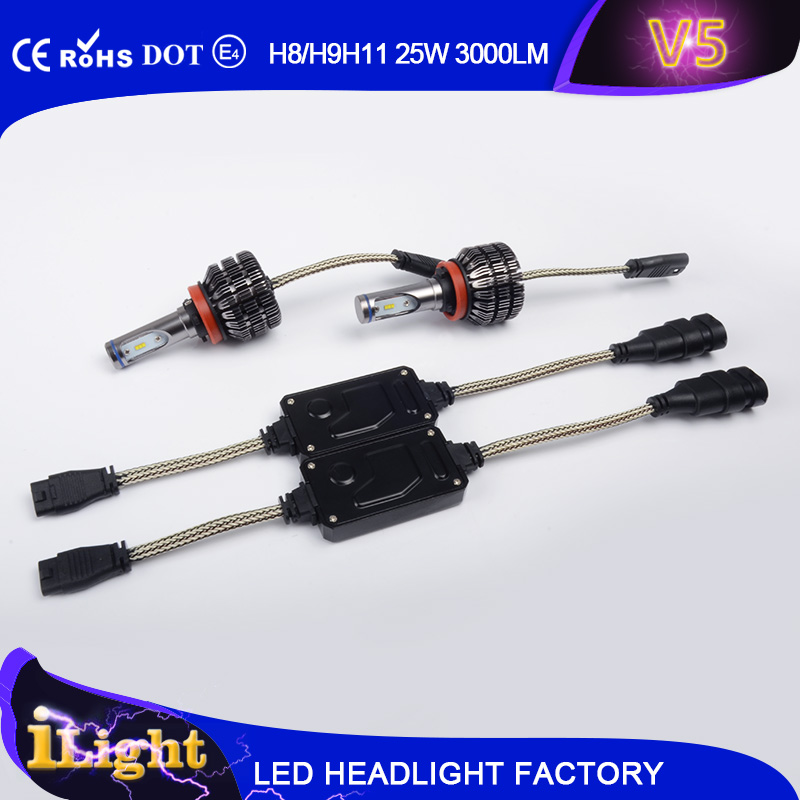 New Generation!!! V5 3000lm LUXEON Z ES CHIP H7 H4 9004 9007 car led headlight bulb Fanless design
