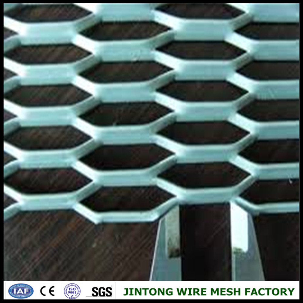 metallic decorated hexagonal pattern expanded metal mesh