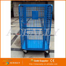 Aceally Logistic Use Steel Four Sides Security Wire Mesh Roll Container / Roll Cage for Storage
