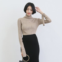 C66857A european style lapel collar knited sweater for lady
