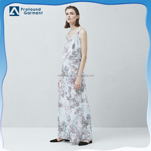 new style layered v neck strap chiffon long dress with high slits