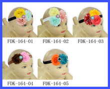 Hot Selling Shabby Flowers For Headbands Kids Hair Accessories Decorative Crystal Center Flower Baby Headbands